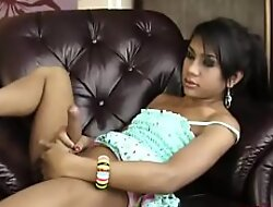 Ladyboy Oil Strokes Her Heavy Dick Increased by Inserts Dildo