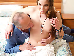 Carol loves to have sex. She enjoys sleeping with hot guys, but she not under any condition before had sex with an old man. Well, like they say, there is a first epoch for everything, increased by today Carol will finally spread her legs for a man old enough to be her grandfather.