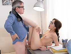 Sexy brunette student sits down on a hard dick of her teacher to give him many exciting moments and total sex satisfaction. Sure, she hopes to get something in return.