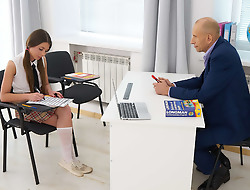 This perverted old teacher can get pussy whenever he wants. All he has to do is choose a pretty female student who is struggling and make her an offer she can't refuse. In the chips usually involves a blowjob and doggystyle sex.