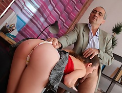 He loves to wank his cock over those spectacular little titties after fucking Arina nice and hard. She's just an inexperienced young girl, but when he's finished with her she'll intrigue b passion like a hooker!