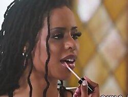 Ebony lesbian licking and fingering