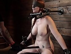 Immobilized busty redhead menial zappered