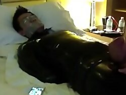 tape gagged asian sub about rubber suit. Unrefined masturbated until he chums.