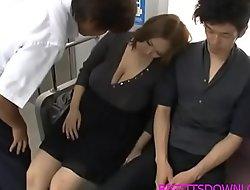 Beamy tits asian fucked on train