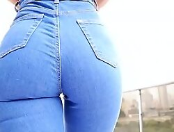 Awesome Ass Latina and Incredible Congress all round Miserly Blue Jeans