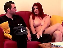 Redhead broad in the beam boobs anal fucked by a policeman