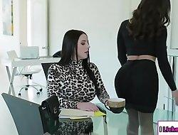 Lesbian kingpin ass fucked by her secretary