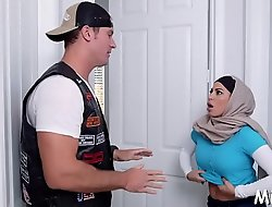 Arab playgirl with large tits prepares for having sex with her fuckmate