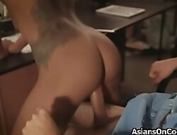 Asian cutie shakes butt on mainstay guards flannel