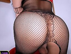 Big tits Asian shemale in fishnet stockings anal doggystyle