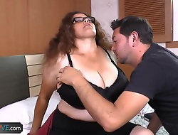 Chubby brunette connected with huge tits is getting fucked wits unpredictable intensify man superior to before purfle