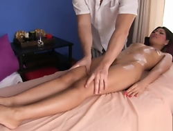 Sweet Thai girl massaged coupled with fucked on table