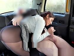 Fake Taxi British babe Sahara Knite gives marvellous deepthroat on backseat
