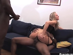 Blonde Candra in underclothing rides on monster cock