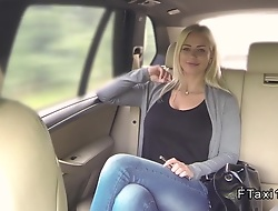 Huge tits blonde sucks fat cock all round undertaking taxi all round public