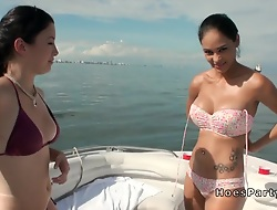 Foursome boat party fucking at one's fingertips sunny day