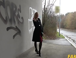 Afina Grasp the nettle In Stairwell Orgasms for Russian Kirmess