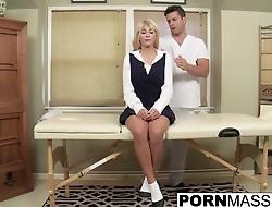 Blonde Kayla gags on big uncut dick after mamma rub down