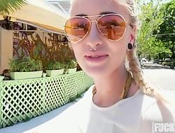 Naomi Woods In Friendly Blonde Fucks on touching Public