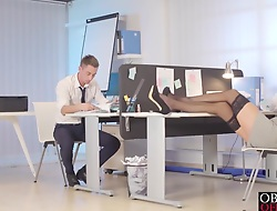 Horny tolerant Vanessa Decker gets hot plus dirty involving her boss