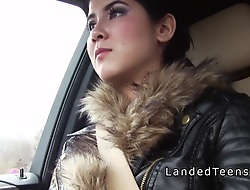 Obese cocked clothes-horse fucks spot on target teen outdoors pov