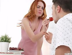 Seductive redhead main gets pounded all round the morning