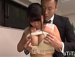 Lovely japanese with bonny knockers delights with fellatio