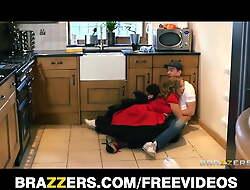 Big-tit British nanny distracts the plumber