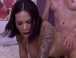 Busty latina shemale analyzed her mature tranny GF