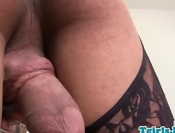 Ebony tranny in stockings masturbating slowly
