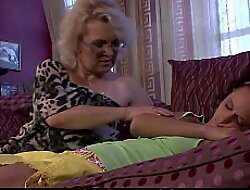 Sleeping doll gets disciplined by horny blonde granny