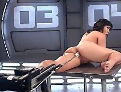 Asian shovs fucking outfit up her ass