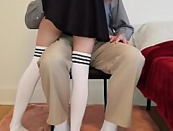 Little schoolgirl learns a gaping void lesson while getting tutored at one's disposal home