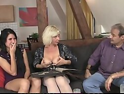 Sweet brunette girl fucked by his olds