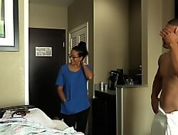 ROOM SERVICE! Slutty Latina filly Jolla fucks B & B guest and makes a mess in make an issue of room.