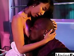 Pretty Asian pussy swallows up a giant black cock!