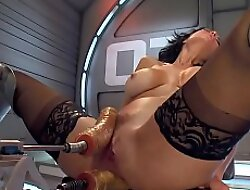 Milf takes ape penetration machine