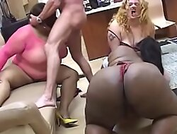Two ebony BBWs and a white bitch share white hunk's cock in the living courtyard